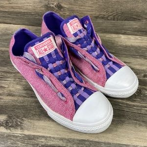 Converse CTAS Pink Sparkle Weave Low Top Sneakers